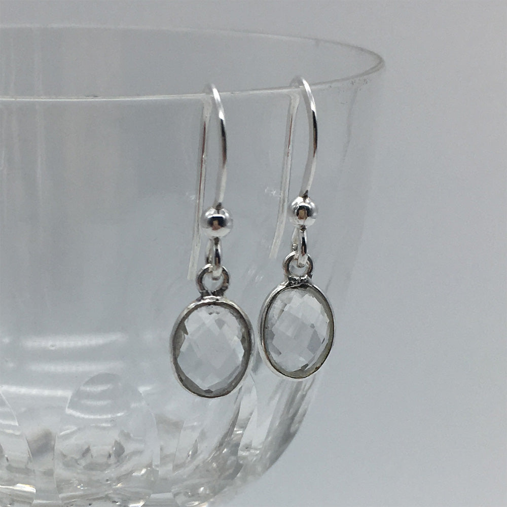 Gemstone earrings with clear quartz (rock crystal) crystals on Sterling Silver or 22 Carat gold vermeil hooks