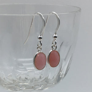 Gemstone earrings with pink opal crystal drops on silver or gold hooks