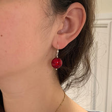 Earrings with red Murano glass small lentil drops on silver or gold hooks
