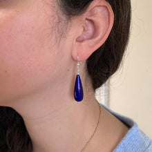 Earrings with dark blue (cobalt) Murano glass long pear drops on silver or gold hooks