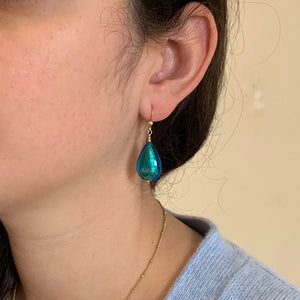 Earrings with sea green (jade, teal) Murano glass pear drops on silver or gold hooks