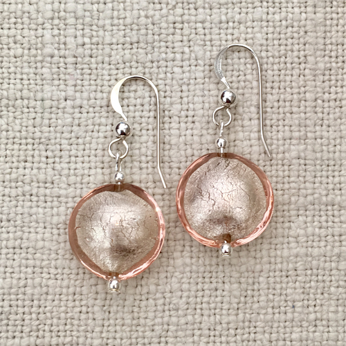 Earrings with champagne (peach, pink) Murano glass small lentil drops on silver or gold hooks