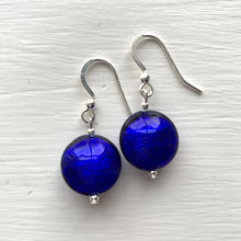 Earrings with dark blue (cobalt) Murano glass small lentil drops on silver or gold hooks