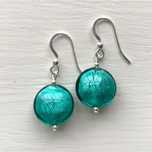 Earrings with teal (green, jade) Murano glass small lentil drops on silver or gold hooks