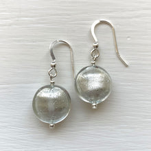 Earrings with clear crystal and white gold Murano glass small lentil drops on silver or gold hooks