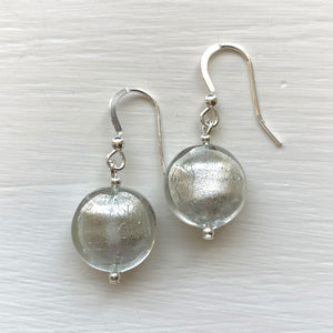 Earrings with clear crystal and white gold Murano glass lentil drops on silver or gold