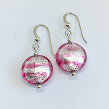 Earrings with candy stripe pink Murano glass small lentil drops on silver or gold hooks