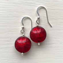 Earrings with red (it. rosso) Murano glass small lentil drops on silver or gold hooks