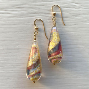 Earrings with ruby (red), periwinkle, blue and gold Murano glass long pear drops