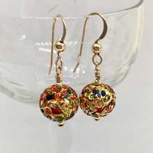 Earrings with speckled colours & gold Murano glass small sphere drops on silver or gold