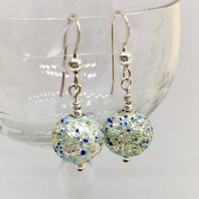 Earrings with speckled shades of blue & white gold Murano glass mini spheres on silver or gold hooks