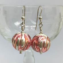 Pink With White Gold Leaf Sphere Drop Earrings On Silver Or Gold Ear Wires.