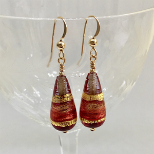 Earrings with cranberry, ruby red and gold Murano glass short pear drops on silver or gold hooks