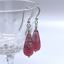 Earrings with rose pink (cerise) Murano glass short pear drops on silver or gold hooks