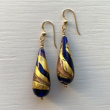 Earrings with dark blue (cobalt), gold and aventurine Murano glass long pear drops