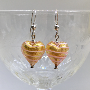 Earrings with pink spiral and gold Murano glass small heart drops on silver or gold