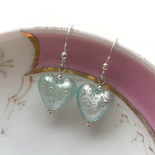 Earrings with aquamarine (blue) Murano glass small heart drops on silver or gold hooks
