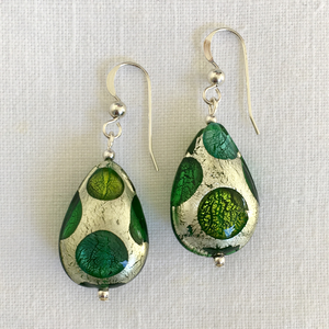 Earrings with shades of green and white gold Murano glass pear drops on silver or gold