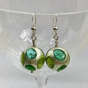 Earrings with shades of green and white gold Murano glass sphere drops on silver or gold hooks