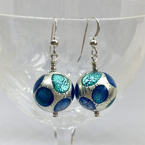 Earrings with shades of blue and white gold Murano glass sphere drops on silver or gold hooks