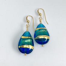 Earrings with shades of blue & gold Murano glass pears on Sterling Silver or 22 Carat gold vermeil hooks