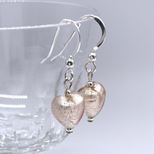 Earrings with champagne (pink) Murano glass mini hearts on Sterling Silver or 22 Carat gold vermeil hooks