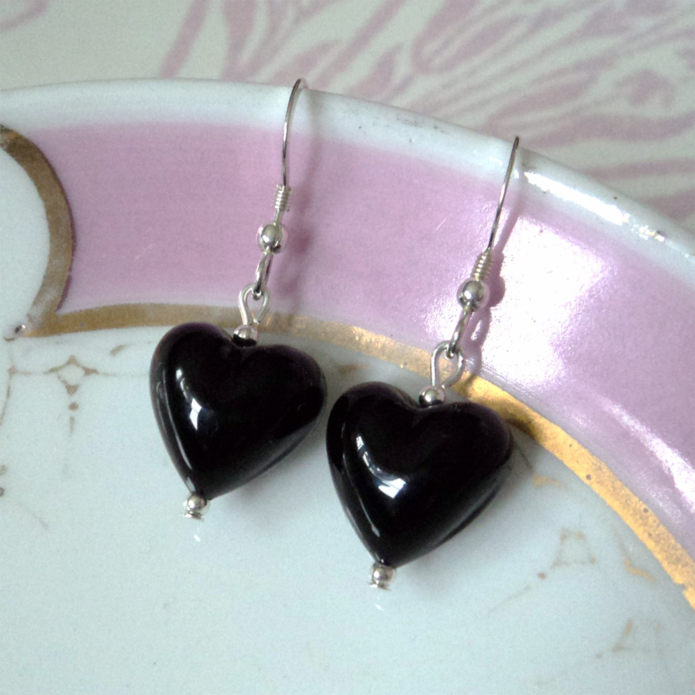 Earrings with black pastel Murano glass small heart drops on silver or gold hooks