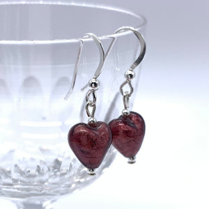 Earrings with dark amethyst (purple) Murano glass mini heart drops on silver or gold hooks