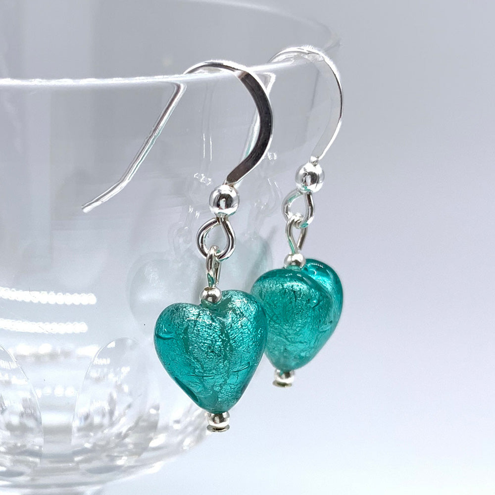 Earrings with teal (green, jade) Murano glass mini heart drops on silver or gold hooks