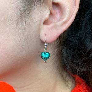 Earrings with teal (green) Murano glass mini heart drops on Sterling Silver or gold vermeil hooks