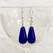 Earrings with dark blue (cobalt) Murano glass short pear drops on silver or gold hooks