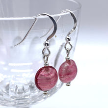 Earrings with rose pink (cerise) Murano glass mini lentil drops on silver or gold hooks