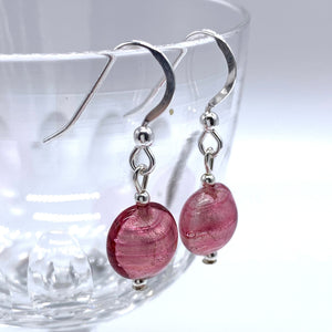 Dark Pink (Cerise) Mini Lentil 'Smartie' Drop Earrings On Silver Or Gold.