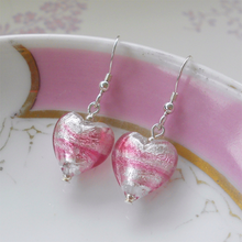 Earrings with candy stripe pink Murano glass small heart drops on silver or gold hooks