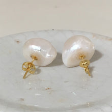 Pearl earrings with large freshwater natural white baroque button Kasumi pearl studs on gold