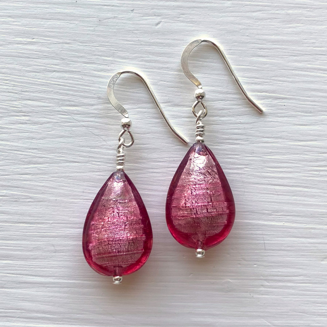 Earrings with rose pink (cerise) Murano glass pear drops on silver or gold hooks