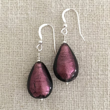Earrings with dark amethyst (purple) Murano glass pear drops on silver or gold hooks