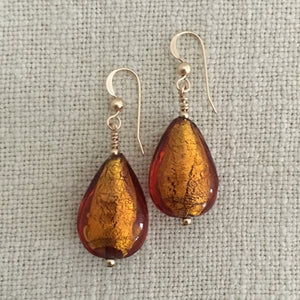 Earrings with brown topaz (amber) Murano glass pear drops on silver or gold hooks