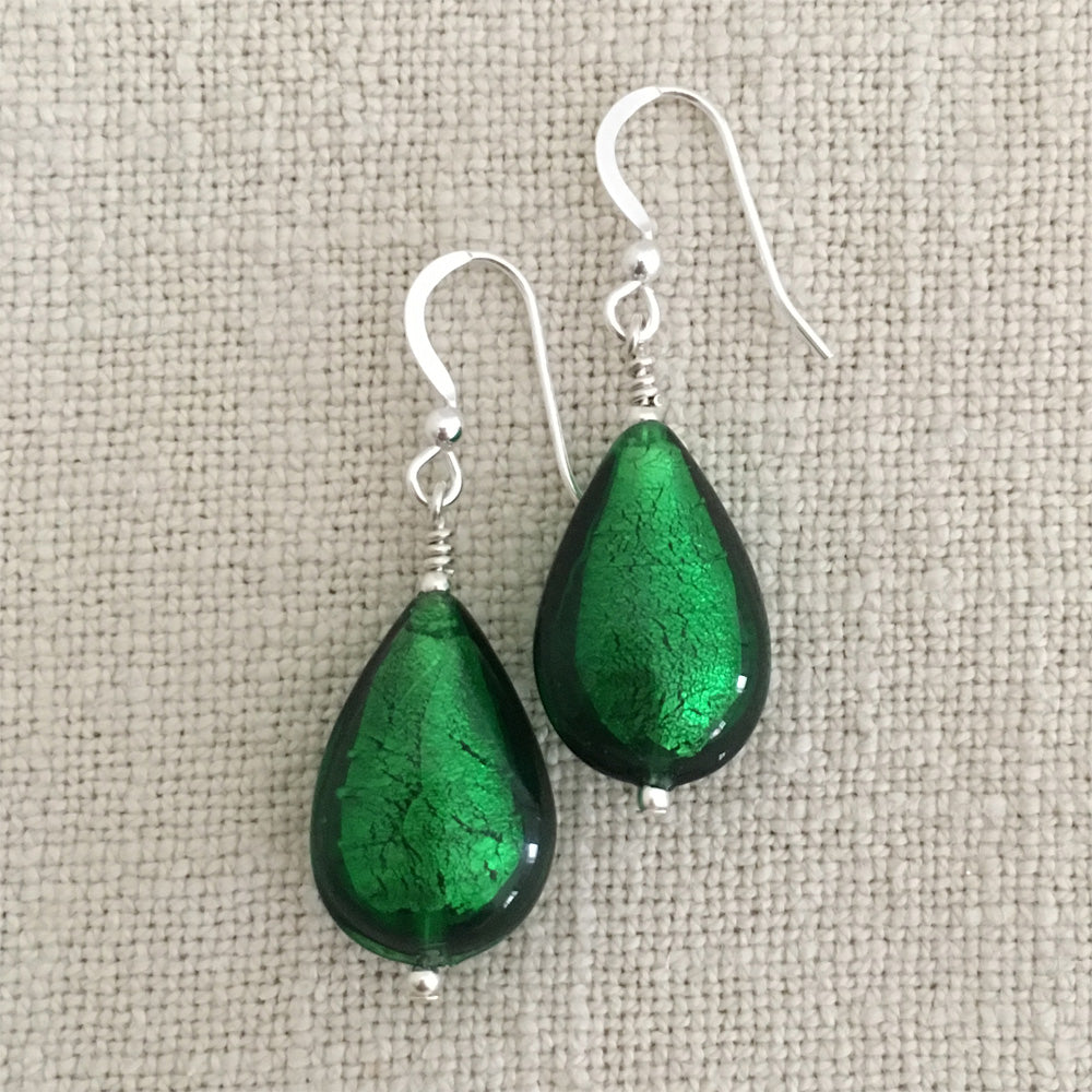 Earrings with dark green (emerald) Murano glass pear drops on silver or gold hooks