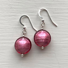 Earrings with rose pink (cerise) Murano glass small lentil drops on silver or gold hooks