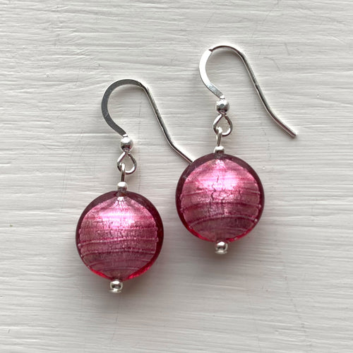Dark Pink (Cerise) Small Lentil 'Smartie' Drop Earrings On Silver Or Gold Ear Wires.