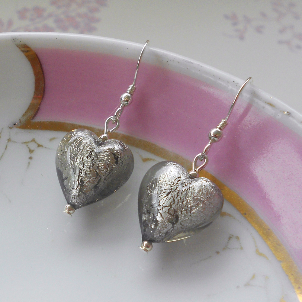 Earrings with grey Murano glass small heart drops on silver or gold hooks