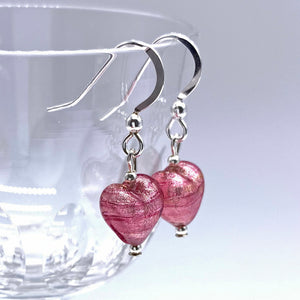 Earrings with rose pink (cerise) Murano glass mini heart drops on silver or gold hooks