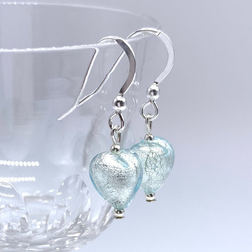 Earrings with aquamarine (blue) Murano glass mini heart drops on silver or gold hooks