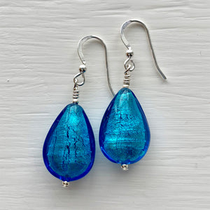Earrings with turquoise (blue) Murano glass pear drops on silver or gold hooks
