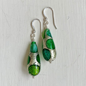 Earrings with shades of green and white gold Murano glass long pear drops on silver or gold