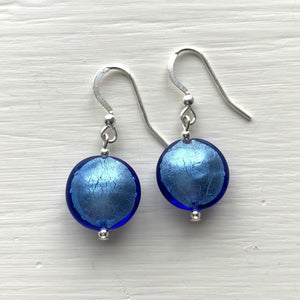 Earrings with cornflower blue Murano glass small lentil drops on silver or gold hooks