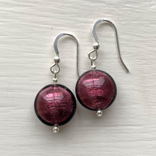 Earrings with dark amethyst (purple) Murano glass small lentil drops on silver or gold hooks