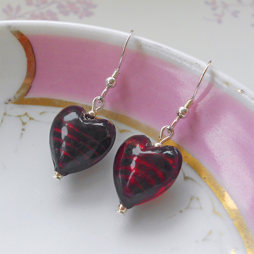 Earrings with dark red Murano glass small heart drops on silver or gold hooks