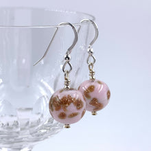 Earrings with pink pastel & aventurine Murano glass small sphere drops on silver or gold